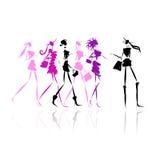 Κορίτσια μόδας με τις τσάντες αγορών, απεικόνιση για διανυσματική απεικόνιση
