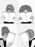 Κορίτσια που διαβάζουν τα βιβλία απεικόνιση αποθεμάτων