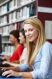 Κορίτσια που εργάζονται στους υπολογιστές στη βιβλιοθήκη Στοκ φωτογραφίες με δικαίωμα ελεύθερης χρήσης