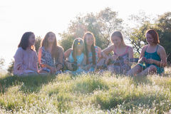 Κορίτσια που κάθονται μαζί στην τραγουδώντας και παίζοντας μουσική χλοωδών τομέων Στοκ Φωτογραφία