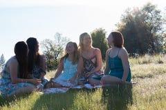 Κορίτσια που κάθονται μαζί στο χλοώδη τομέα με το φως του ήλιου από πάνω Στοκ Εικόνα