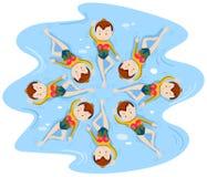 Κορίτσια που κάνουν τη συγχρονισμένη κολύμβηση στην ομάδα Στοκ φωτογραφία με δικαίωμα ελεύθερης χρήσης