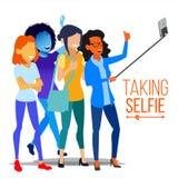 Κορίτσια που παίρνουν το διάνυσμα Selfie Έννοια πορτρέτου φωτογραφιών Μόνη κάμερα Σύγχρονη οριζόντια απομονωμένη απεικόνιση ανθρώ διανυσματική απεικόνιση