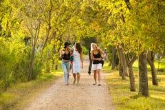 Κορίτσια που περπατούν σε μια πορεία που έχει τη διασκέδαση σε ένα πάρκο στοκ φωτογραφία με δικαίωμα ελεύθερης χρήσης