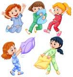 Κορίτσια στις πυτζάμες slumber στο κόμμα διανυσματική απεικόνιση