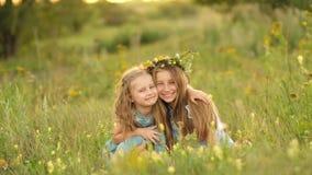 Κορίτσια στο θερινό λιβάδι απόθεμα βίντεο