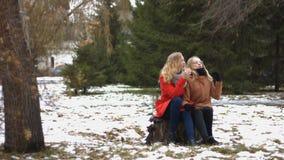 Κορίτσια στο χιονώδες πάρκο φιλμ μικρού μήκους