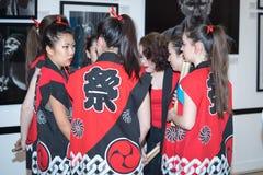 Κορίτσια τυμπανιστών Taiko στοκ φωτογραφία