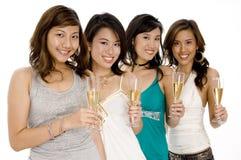 Κορίτσια CHAMPAGNE Στοκ φωτογραφία με δικαίωμα ελεύθερης χρήσης