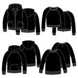 Κορίτσια hoodies μαύρα Στοκ Φωτογραφία