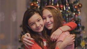 Κορίτσια teens που αγκαλιάζουν το χαμόγελο στο υπόβαθρο του χριστουγεννιάτικου δέντρου απόθεμα βίντεο