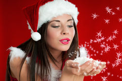 Κορίτσι Άγιου Βασίλη Χριστουγέννων Στοκ φωτογραφία με δικαίωμα ελεύθερης χρήσης