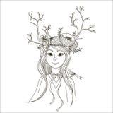 Κορίτσι άνοιξη με τους κλάδους στο κεφάλι του υπό μορφή κέρατων Στοκ Εικόνες