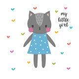 κορίτσι λίγα μου cat cute Αστεία κάρτα για το κορίτσι Στοκ Φωτογραφίες