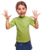 Κορίτσι λίγη ευτυχής χαρούμενη έκπληξη που απομονώνεται στοκ φωτογραφία με δικαίωμα ελεύθερης χρήσης