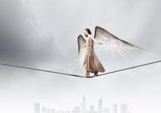 Κορίτσι αγγέλου στο φόρεμα Στοκ εικόνα με δικαίωμα ελεύθερης χρήσης