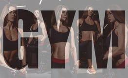 Κορίτσι αθλητών sportswear που επιλύει και που εκπαιδεύει τα όπλα και τους ώμους της με τη μηχανή άσκησης στη γυμναστική Κολάζ τη στοκ εικόνα