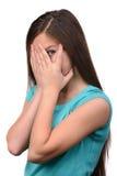 κορίτσι ανασκόπησης πέρα από το λευκό εφήβων στούντιο βλαστών Στοκ Εικόνες