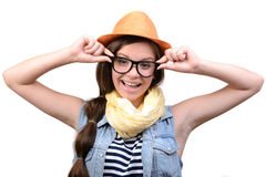 κορίτσι ανασκόπησης πέρα από το λευκό εφήβων στούντιο βλαστών Στοκ Φωτογραφίες
