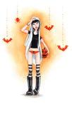 Κορίτσι αποκριών Watercolour διανυσματική απεικόνιση