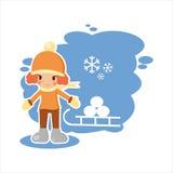 Κορίτσι από το χειμώνα που τίθεται με το διανυσματικό σχήμα Στοκ Εικόνα