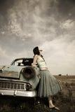 κορίτσι αυτοκινήτων κον&tau Στοκ Εικόνα
