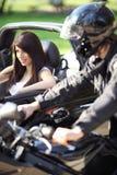 κορίτσι αυτοκινήτων που & Στοκ Εικόνες