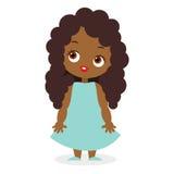 Κορίτσι αφροαμερικάνων Διανυσματική απεικόνιση eps 10 που απομονώνεται στο άσπρο υπόβαθρο Επίπεδο ύφος κινούμενων σχεδίων Στοκ Εικόνες