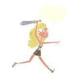 κορίτσι Βίκινγκ κινούμενων σχεδίων με το ξίφος με τη λεκτική φυσαλίδα Στοκ Φωτογραφίες