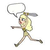 κορίτσι Βίκινγκ κινούμενων σχεδίων με το ξίφος με τη λεκτική φυσαλίδα Στοκ φωτογραφίες με δικαίωμα ελεύθερης χρήσης