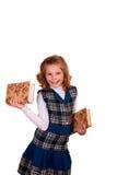 κορίτσι βιβλίων ανασκόπησης που απομονώνεται πέρα από το λευκό εφήβων ανάγνωσης πορτρέτου Στοκ Εικόνες