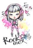 Κορίτσι βράχου καρτών Watercolor με τα ακουστικά Οι λέξεις καλλιγραφίας με λικνίζουν Στοκ φωτογραφία με δικαίωμα ελεύθερης χρήσης