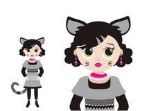 κορίτσι γατών λίγα απεικόνιση αποθεμάτων