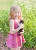 κορίτσι γατών λίγα Στοκ Φωτογραφίες