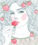 κορίτσι γραφικής παράστασης απεικόνισης που τρώει τις φράουλες διανυσματική απεικόνιση