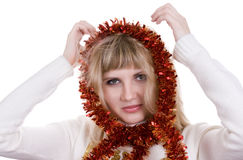 κορίτσι διακοσμήσεων Χριστουγέννων στοκ φωτογραφία με δικαίωμα ελεύθερης χρήσης