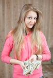κορίτσι δολαρίων δεσμών ευτυχές εμείς Στοκ φωτογραφίες με δικαίωμα ελεύθερης χρήσης