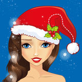 Κορίτσι ειδώλων με το καπέλο Χριστουγέννων διανυσματική απεικόνιση