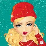 Κορίτσι ειδώλων στο Red Hat διανυσματική απεικόνιση