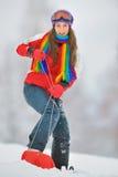 Κορίτσι εν πλω στο χειμώνα στοκ εικόνα με δικαίωμα ελεύθερης χρήσης