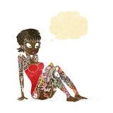 κορίτσι δερματοστιξιών κινούμενων σχεδίων στο μαγιό με τη σκεπτόμενη φυσαλίδα Στοκ Φωτογραφίες