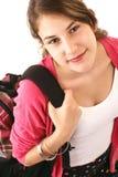 Κορίτσι εφήβων με το ρόδινα πουλόβερ και backpack Στοκ εικόνα με δικαίωμα ελεύθερης χρήσης