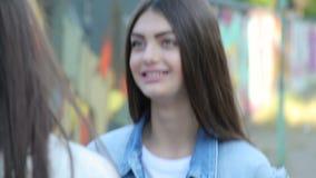 Κορίτσι εφήβων που μιλά σε έναν φίλο απόθεμα βίντεο