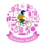 Κορίτσι θερινών διακοπών στο ποδήλατο Στοκ Εικόνες