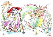 κορίτσι ιαπωνικά δράκων Διανυσματική απεικόνιση