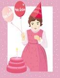 κορίτσι κέικ γενεθλίων διανυσματική απεικόνιση
