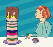 κορίτσι κέικ Στοκ Φωτογραφίες