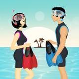 Κορίτσι και άτομο με τη μάσκα και τα πτερύγια διανυσματική απεικόνιση