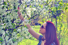 Κορίτσι και δέντρο στοκ εικόνα με δικαίωμα ελεύθερης χρήσης