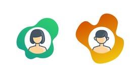 Κορίτσι και αγόρι εικονιδίων στο τολμηρό χρώμα διανυσματική απεικόνιση